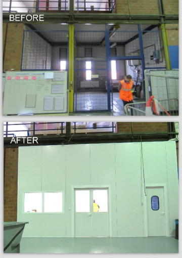 Wall in sandwich panels with window, single and double door