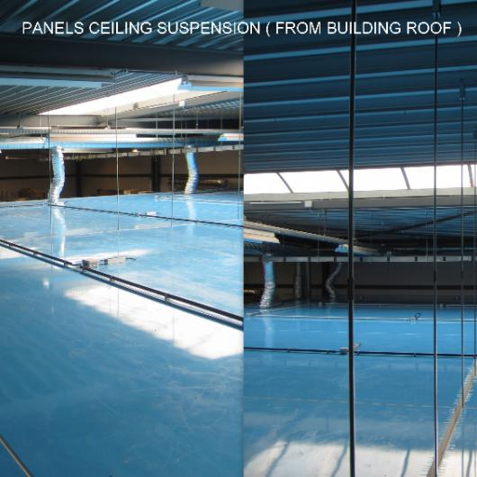 Freestanding ceiling in sandwich panels with ventilation ducts